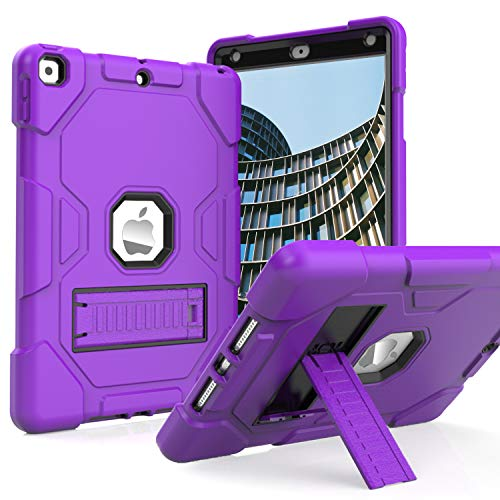 ZoneFoker iPad 10.2 2020/2019 Case,New iPad 8th/7th Generation Case with Stand,Slim Heavy Duty Shockproof Rugged Case Hard PC+Silicone Hybrid High Impact Full Body Protective Case (Purple)