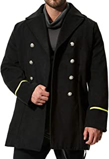 CYJ-shiba Men's Casual Slim Double Breasted Trench Coat Wool Blend Jacket Overcoat