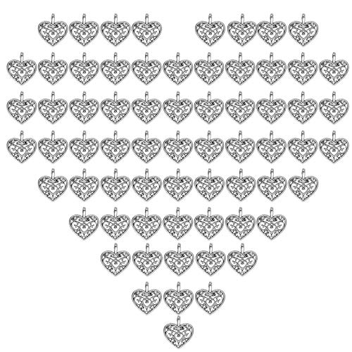 Tongcloud 200 Pieces Heart Shape Alloy Sliver Pendant Charms Jewelry Collection Antique Valentine's Day Charms for Jewelry Crafting Supplies Making Bracelet Necklace and Keychain