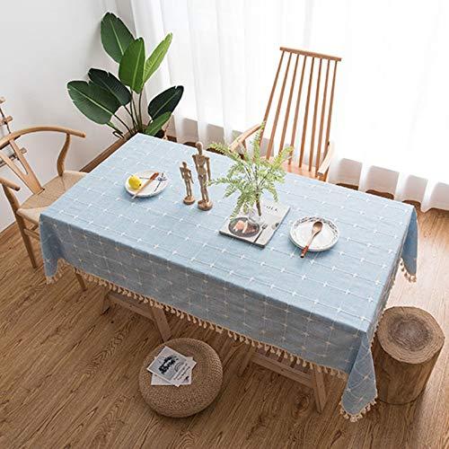Mantel Rectangular de decoración Mantel de algodón y Lino Mantel Rectangular de Mesa de Centro Mantel de jardín Mantel de Cocina Lavable Mantel de Borla Mantel de algodón y Lino Lavable