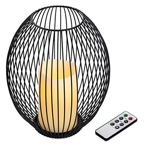 Navaris Metall Kerzenhalter mit LED Wachskerze und Fernbedienung - dimmbar - mit Timer und Flacker Effekt - Kerzenständer mit LED Kerze - Größe L