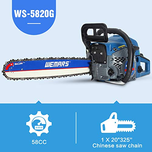 WEMARS Gas Chainsaw 58cc 20 Inch Power Chain Saw 2-Cycle Handed Petrol Chainsaws Gasoline Chain Saws Garden Tool for Cutting Wood Outdoor Home Farm Use