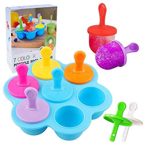 Eisformen Eis am Stiel Silikon,7 Mulden Eisform mit Kunststoffstäbchen,Mini Eisformen EIS Silikonform,Eisförmchen Popsicle Formen Set,EIS am Stiel Bereiter für Kinder,Eisformen BPA Frei(Blau)