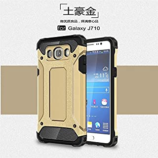 Protective Case Compatible with Samsung Dual Layer Heavy Duty Hybrid Armour Tough Style Shockproof PC+TPU Protective Hard Case Compatible Samsung Galaxy J7 2016 J710 Phone case (Color : Gold)