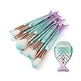 Sunnysam Juego de 10 brochas de Maquillaje, Herramientas de Belleza, brochas de Maquillaje de Sirena, Kit Profesional de Colorete para la Parte Inferior de la Cola de pez