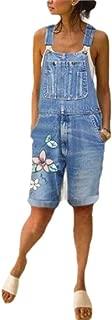 neveraway Women's Floral Printed Pocket Washed Denim Short Suspender Trousers