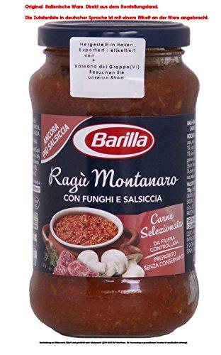 Barilla Ragù Montanaro con funghi, carne suina e salsiccia 3 x 400g = 1200g Glutenfrei Nudelsoße Montanaro mit Pilzen, Schweinefleisch und Wurst (salsiccia)