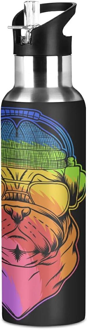 Lindo Auricular Perro Pug Botella de Agua Deportiva con Pajita Acero Inoxidable, 600ML Botellas Termica Sin BPA para Niños Deporte Gimnasio Ciclismo Escuela