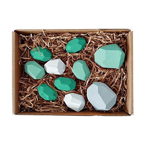 Juguetes de piedra de piedra for niños Bloque de construcción, Childrens 'Creative Stacking juego Nordic Style Beach Rainbow Aprendizaje educativo de color de madera de juguete de piedra for divertido