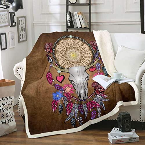 Manta de forro polar bohemia con diseño de calavera de toro bohemio, estilo vintage, con plumas, mandala, para cama, sofá, habitación, decoración de color marrón, para bebé, 76 x 101 cm