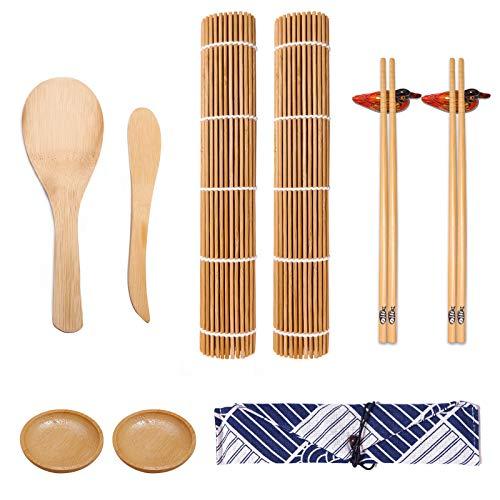 LOCINTE 11 Pezzi Kit Preparazione Sushi Completo Bambù Set Strumento per Fare Sushi 2 Paia di Bacchette 2 Paletta Spatola 2 Piatto di Salsa 2 Porta Bacchette 2 Tappetino Sushi 1 Sacchetto di Stoffa