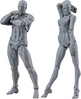 "JDgoods 2PC 5""-6"" Tall Drawing Figures For Artists,Action Figure Drawing Model Artist, Human Mannequin Male Female Kits (C)"