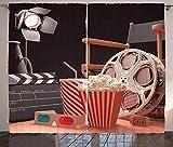 Waple Cortinas opacas ojete para sala de estar Cortinas de cine, objetos para la industria del cine, concepto de fotografía de películas de Hollywood 220*215cm Opaca Cortina para Habitación Térmica Ai