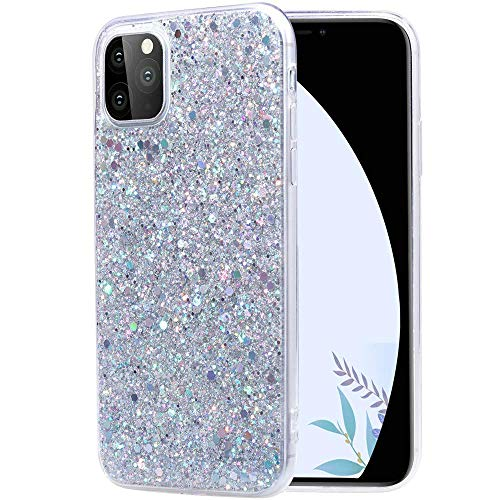 Topwin iPhone 11 Pro Max 6.5'' 2019 Glitter Case, Sparkle Bling Shiny Diamond Slim Soft Reflective Clear TPU Rubber Bumper Girl Women Protective Case for Apple iPhone Pro Max 6.5'' 2019 (Silver)