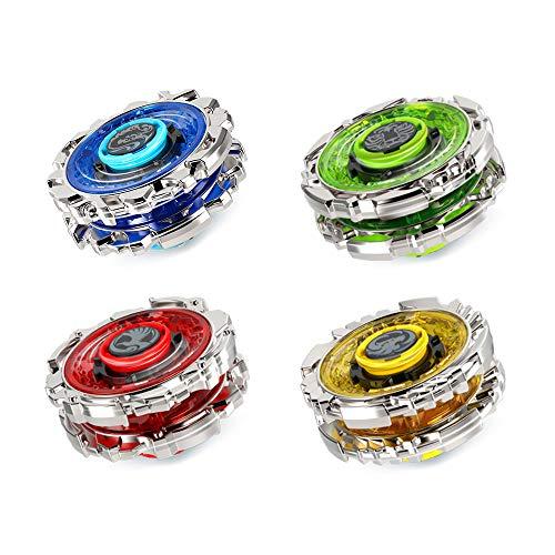 infinitoo Beyblade Burst Doppelangriff Kampfkreisel 4D Fusion Modell Beschleunigungslauncher Speed Kreisel Tolles Kinder Spielzeug (Blau-4 Stück)