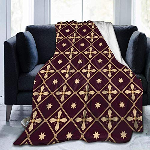 RROOT Manta Suave de Franela Ligera para sofá, Cama, sofá, Viaje, Camping, para niños y Adultos, Cruces de Oro, 34.99