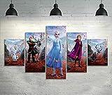WJWORLD 5pcs HD Cartoon Wandbild Frozen Cartoon Poster