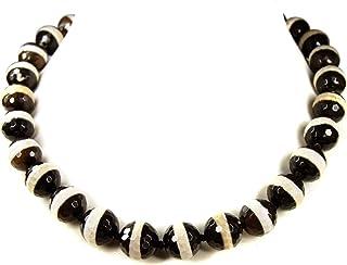 Halskette facettiert Länge 170 cm //9898 einzelgeknotet schwarzer Onyx