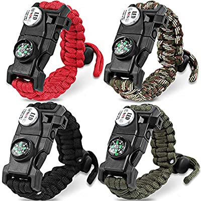 HNYYZL 4 Pack Paracord Bracelet–20 in 1, Adjustable Tactical Survival Paracord Bracelet Emergency Gear with LED Light, Compass, Fire Starter, Whistle, Knife, Etc, for Outdoor Camping Hiking(4 Colors)