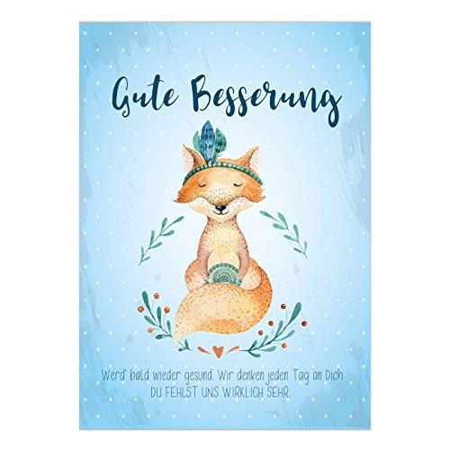 Große DIN A5 Postkarte mit Umschlag/Süßer Fuchs mit Spruch Aquarell Look/Wünsche zur Genesung/Gute Besserung/Krank / Gesundheit/Krankenhaus