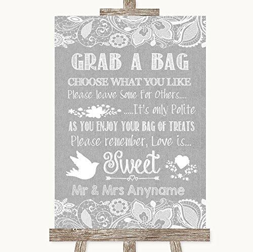 Grijze jute & kant collectie grijs jute & kant pak een tas Candy Buffet Cart Sweets bruiloft teken Framed Black Medium