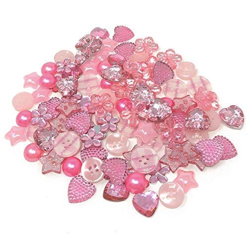 Special Touches Knöpfe, Acryl, Harz, flache Rückseite, für Kartenverzierungen, Pink, 100 Stück