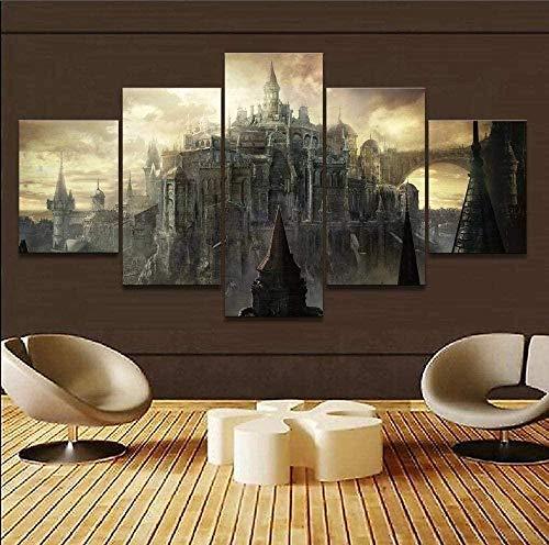 wodclockyui 5 Piezas Cuadro de Lienzo - Juego Dark Souls Castle Pintura 5 Impresiones de imágenes Decoración de Pared para el hogar Pinturas y Carteles de Arte HD 200cmx100cm sin