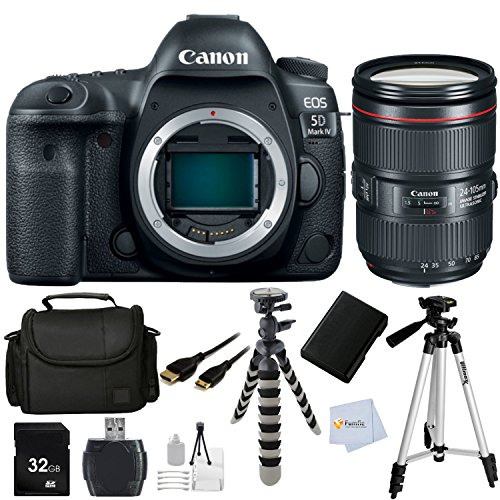 Affordable Canon EOS 5D Mark IV DSLR Camera with Canon EF 24-105mm f/4L is II USM Lens - Internation...
