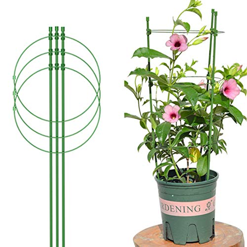 systematiw 18 Inches Plant Support Cages with Adjustable Rings, Vine Trellis Support Climbing Flowers Plants Cage Triple Plastic Pillar Support Frame for Home Garden Balcony (1 Pack)