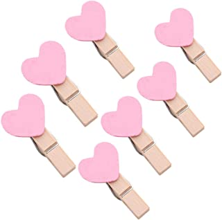 SIPLIV 100 Pack Wood Photo Clips Picture Photo Frame for Wall Decor Artworks Pictures Organizer & Hanging Display Utility Clip Clothespins Clip - Pink Heart Shaped