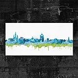 Kunstbruder Wiesbaden Skyline BLAU (div. Größen) - Kunst
