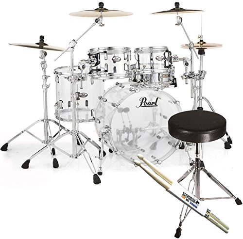 PEARL CRB524P C730Crystal Beat Fusion Shell Set Acrylic + Keepdrum Stool and Sticks
