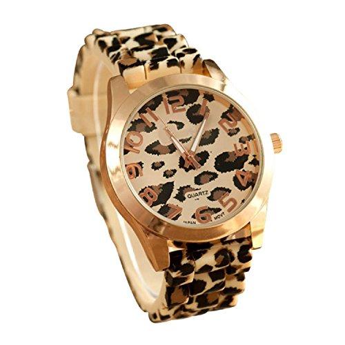 Amsion Gel Moda unisex Los hombres y las mujeres del leopardo jalea del silicón del análogo de cuarzo reloj de pulsera (oro)