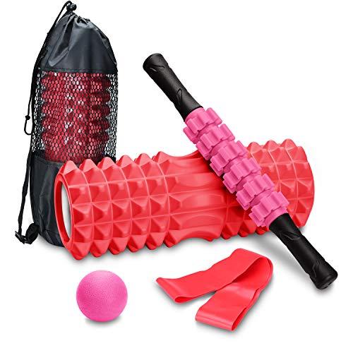 COVVY Set da massaggio fitness 4 in 1,colonna con rullo in schiuma,roller stick,fascia massaggiante,fascia di resistenza,per massaggio profondo dei tessuti e dei punti trigger,alleviare il dolore