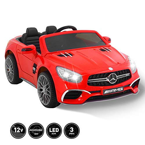 Lowest Price! Fitnessclub 12V Kids Ride On Car Toy Licensed Mercedes-Benz AMG Roadster SL65 Electric Car Remote Control Spring Suspension LED Lights Safety Lock Detachable Battery 3 Speeds USB (Black)