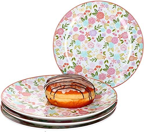 RITZENHOFF & BREKER 4-teiliges Kuchenteller-Set Sweet Flower I Geschirr-Set für 4 Personen I Frühstücksteller mit Blumen-Dekor I Hochwertige Dessertteller I 4 Porzellanteller mit Ø 20 cm