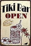 Cartel de chapa 20 x 30 cm, arqueado Tiki Bar Open Summer Holidays Cocktail Música Decoración Regalo Cartel