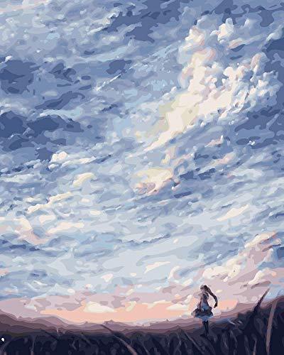 WOWDECOR DIY Malen nach Zahlen für Erwachsene Kinder Mädchen, Mädchen Himmel Wolke Wiese 40x50cm Vorgedruckt Leinwand-Ölgemälde (ohne Rahmen)