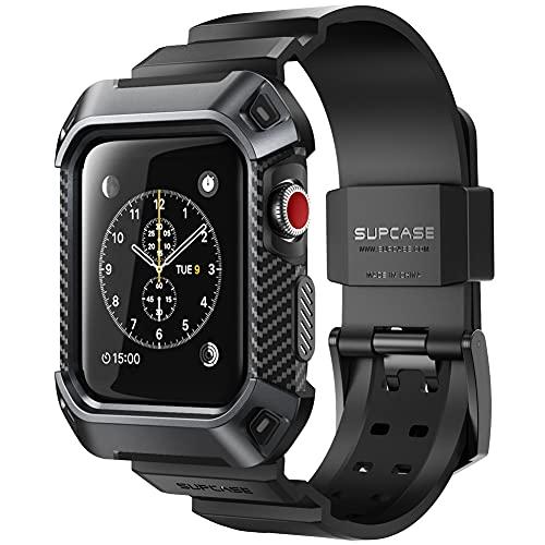 SupHülle Apple Watch 3 Armband, [Unicorn Beetle Pro] Schutzhülle Robuster Schutzkappe Kratzfest Hülle Hülle für Apple Watch Serie 3 2017, 42mm [Kompatibel mit Apple Watch 42mm 2015 2016] (Schwarz)