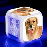 W-JIUJIA Perro Lindo Perro Alarma de Mascotas 7 Color LED Luz de Alarma Digital Reloj de Alarma para niños Cumpleaños Luz de Noche Luz de Reloj electrónico Reloj .20