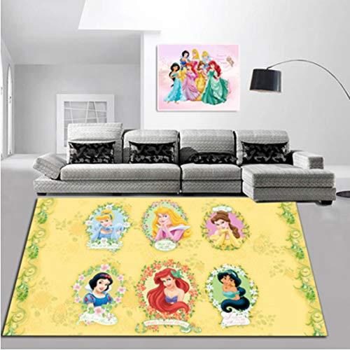 ZRY Alfombra De Juego para Niños Alfombra De Ventana De Bahía De Dibujos Animados Sala De Estar Regalo De Niña 3D Princesa De Disney Chica Corazón Alfombras De Decoración De Dormitorio