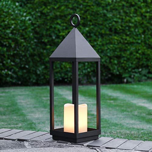 Festive Lights - Lanterna decorativa, con candela LED, 18 x 62 cm, colore: Nero