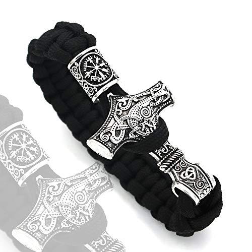 Pulsera Retro Nórdico Vikingo Thor's Hammer Rune, Talismán de Tótem Tallado Mjolnir, Alta Densidad, Desvanecerá, Robusto Y Duradero,3,9.1INCH