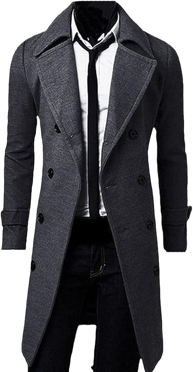 Winter Men's Slim Fashion Windbreaker Double-Breasted Long Coat Casual Wool Fleece Windbreaker