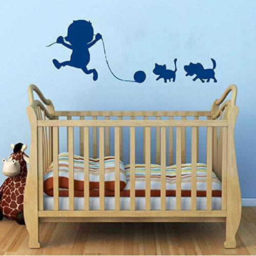 Muursticker, baby spelen met huisdieren 90x33 cm PVC DIY art home decor voor kinderkamer woonkamer muurtattoo verwijderbare douane kantoor verjaardagscadeau