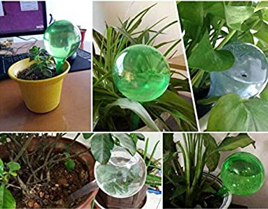 10 Pcs Self Watering Plastic Globes Automatic Watering System Device,Self Watering Spike Slow Release Vacation Plants System for Garden 26.5cmx8cm, Green Home Outdoor Indoor