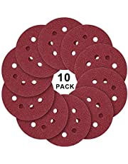 Discos de lijado, 10 piezas, 125 mm, 8 agujeros, bajo consumo, alto desgaste, resistencia al desgaste, forma redonda, papel de grano 60# -1000# (180#)