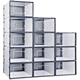 Shoe Storage Boxes with Lids, eWonLife Clear Plastic Stackable Shoe...