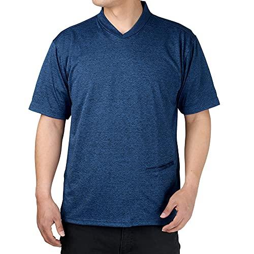 (アトリエ 365) Tシャツ 半袖 ジャケTシャツ クールビズ メンズ Vネック 無地 ジャケット ノーアイロン ストレッチ 吸水速乾 ビジカジ カジュアル ビジネス テレワーク/sun-me-ts-1877-ats-L-navy-b-ss21