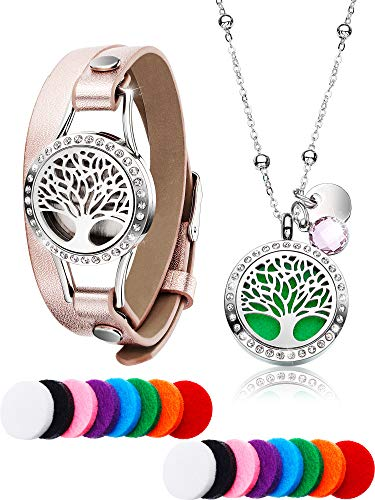 Tree Life Essential Oil Diffuser Diamond Necklace with Stainless Steel Aromatherapy Diamond Locket Leather Bracelets, 16 Pieces Washable Refill Pad in Different Color, for Girl Women